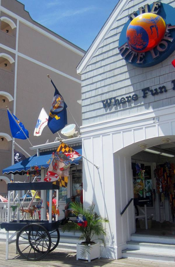 Our flag greeting you at the door of the famous Kite Loft of Ocean City, MD.