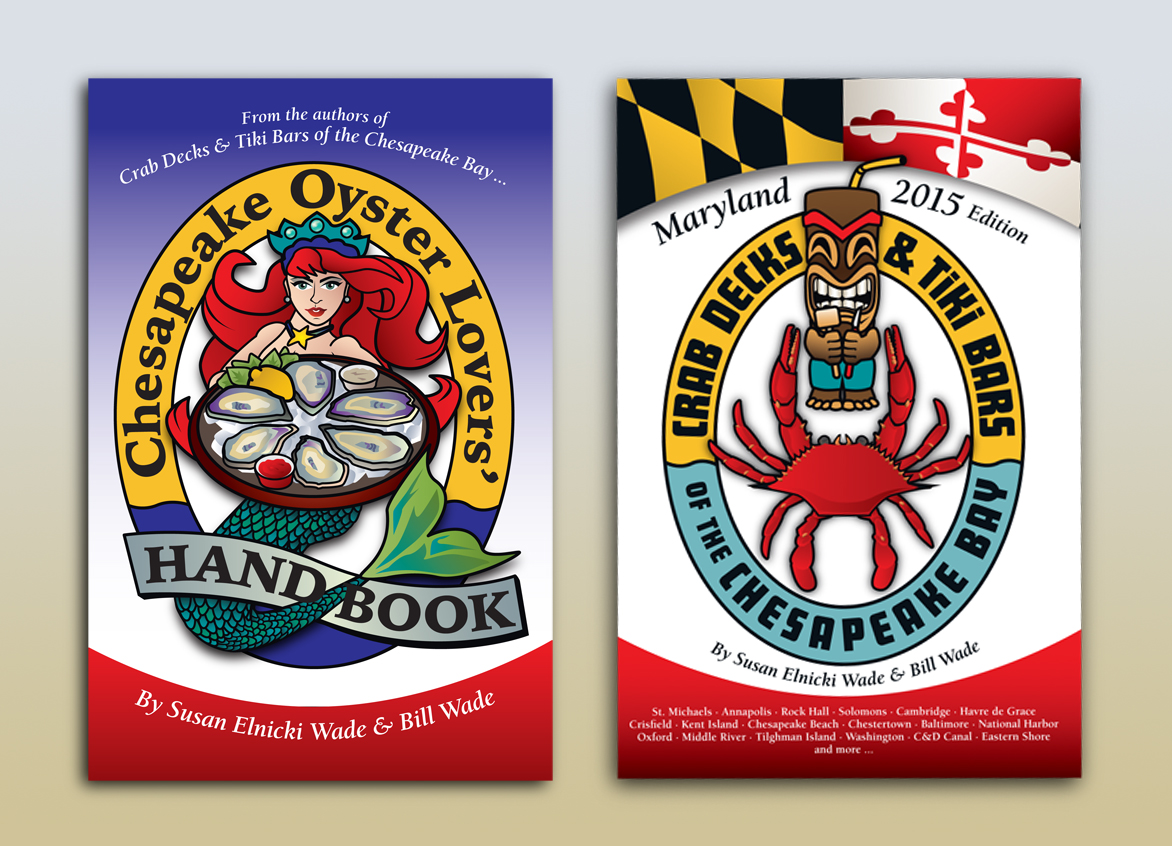"Cover illustrations by joe barsin for ""Chesapeake Oyster Lovers' handbook"" and ""Crab decks & Tiki Bars of the Chesapeake Bay"""