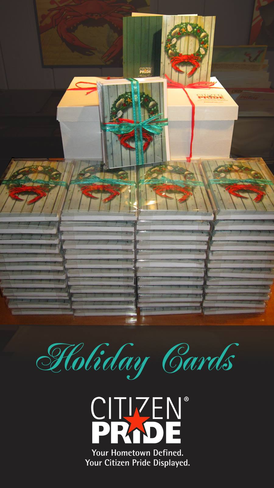 Holiday Crab Wreath Note Cards