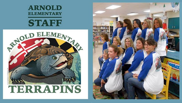 On left is the art created by Joe barsin for the front left chest and center back. On right are the awesome arnold ELEMENTARY team!