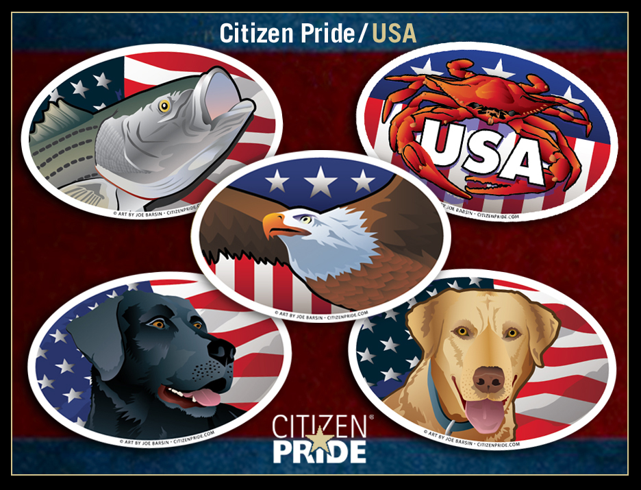 New Citizen Pride/USA icon illustrations: Eagle, Black & Yellow Lab, Striped Bass and Citizen Crab!