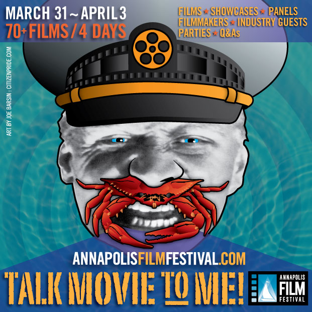 vertical layout of the 2016 Annapolis film festival poster