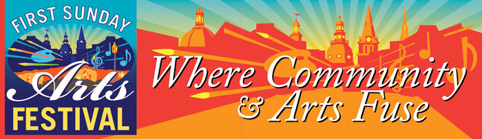 """Banner and logo design for """"First Sunday Arts Festival"""" on west street, annapolis"""