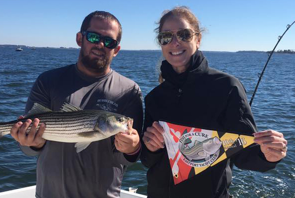 Beautiful weather for the f4AC 2016 tournament! A Real rockfish meets our new 2016 burgee design!