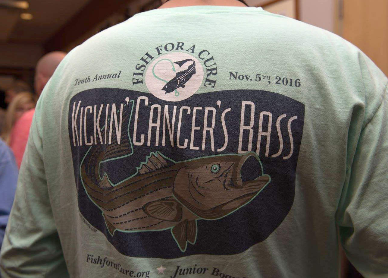"""besides the official f4Ac shirts, we also design the yearly """"kickin' Cancer's bass"""" shirts that are sold by the junior board throughout the year."""