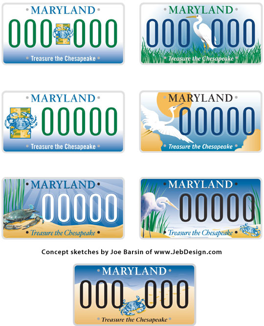 Initial sketches for the Maryland Bay license plate