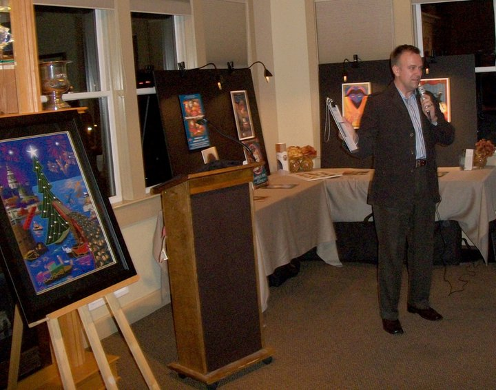 Joe Barsin presenting the new illustration at the Eastport Yacht Club's Unveil Event.