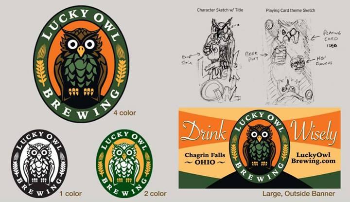 Lucky Owl Brewing logo with concept sketches