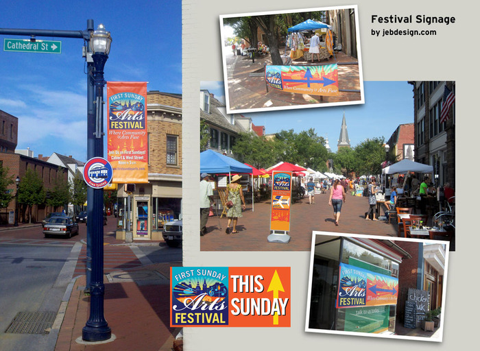 First Sunday Arts Festival outdoor signage