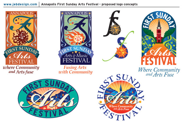 Proposed logo concepts for the Annapolis First Sunday Arts Festival