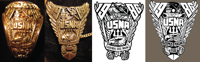 L to R: Class ring, Class lapel pin, Original crest & New crest; All Rights Reserved. © USNA Class of 1986