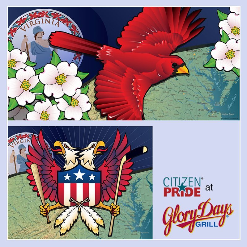Celebrating Virginia's State Bird and Flower. Double Eagle Crest for Washington DC Sports Fans!