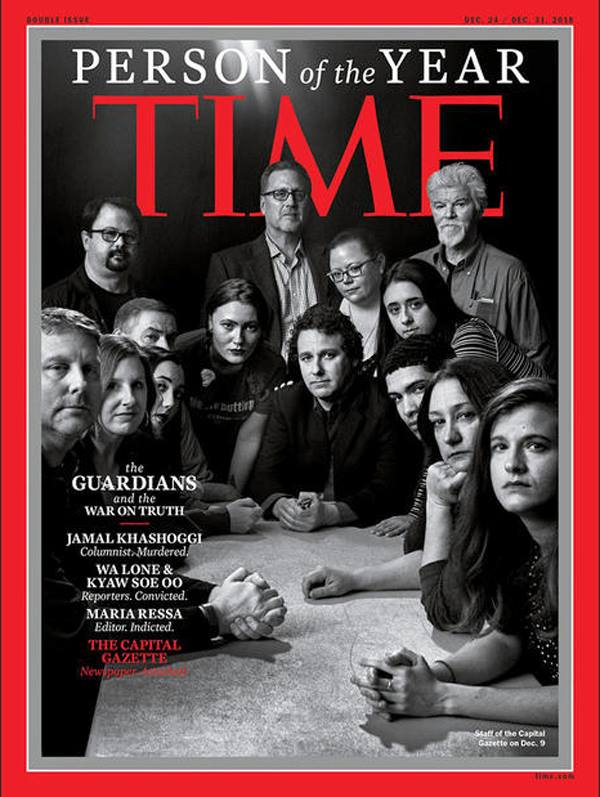 The Capital Staff on cover of TIME magazine's 2018 Person of the Year.