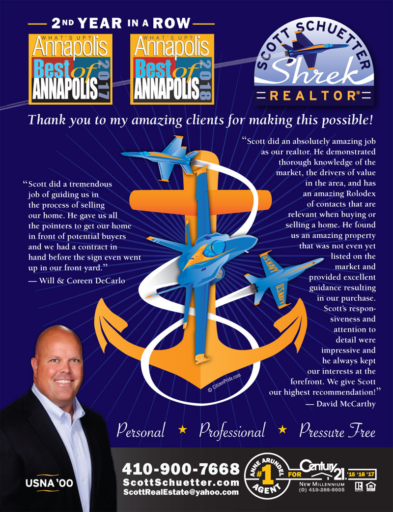 USNA Graduation - May Theme - Scott Schuetter Realtor Ad - part of an ongoing campaign in What's Up? Annapolis  magazine