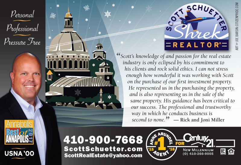 Winter Theme - Scott Schuetter Realtor Ad - part of an ongoing campaign in What's Up? Annapolis  magazine