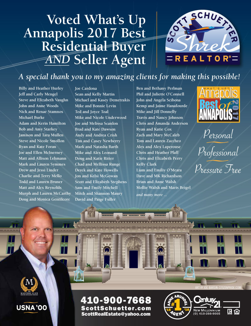 USNA Alumni - May Theme - Scott Schuetter Realtor Ad - part of an ongoing campaign in What's Up? Annapolis  magazine