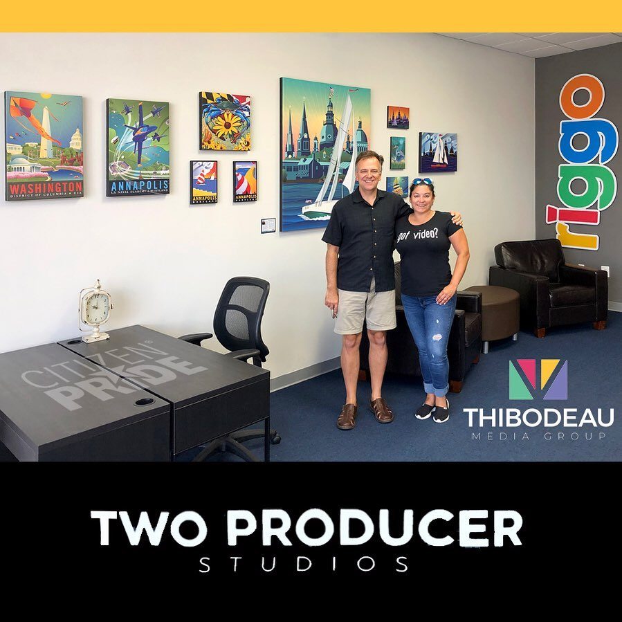 Illustrator,  Joe Barsin  shown with  Angie Fuller Trice  of  Riggo Productions  and  TMG Thibodeau Media Group .