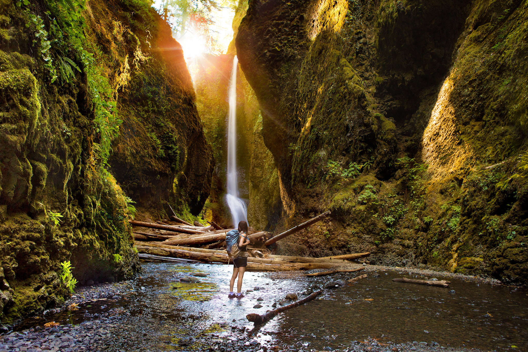 This is a composite of different aspects of the hike. This is what it felt like. Often we take an artistic license in our photographs to evoke the mood/atmosphere of the place. You can't quite see the waterfall from this view, but it sums up all of the cool experiences of the journey.