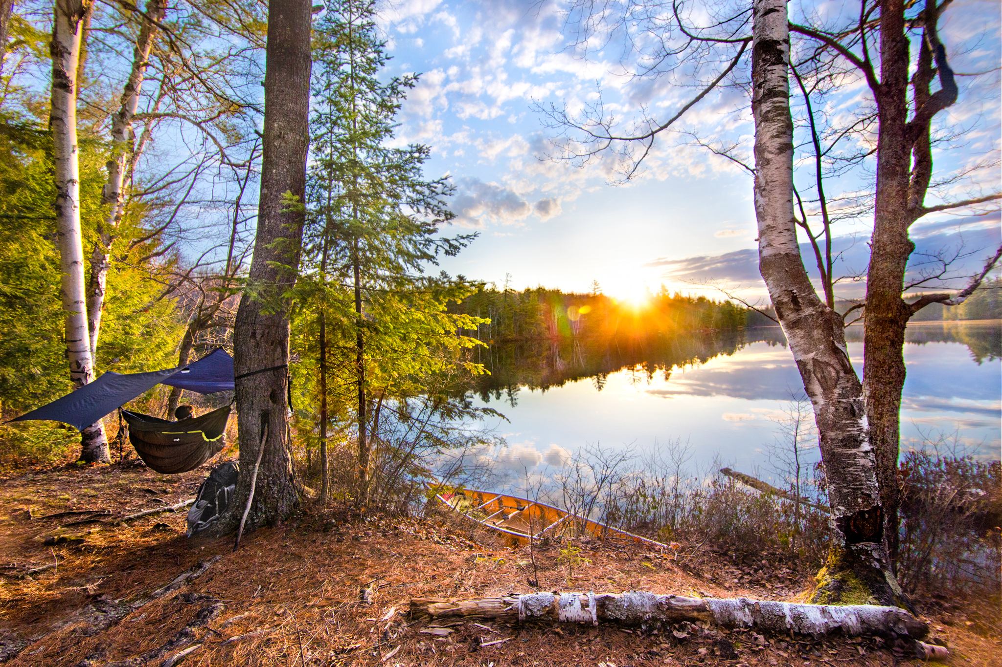 Sunrise at our second campsitein the Eagles Nest Outfitters Hammock.