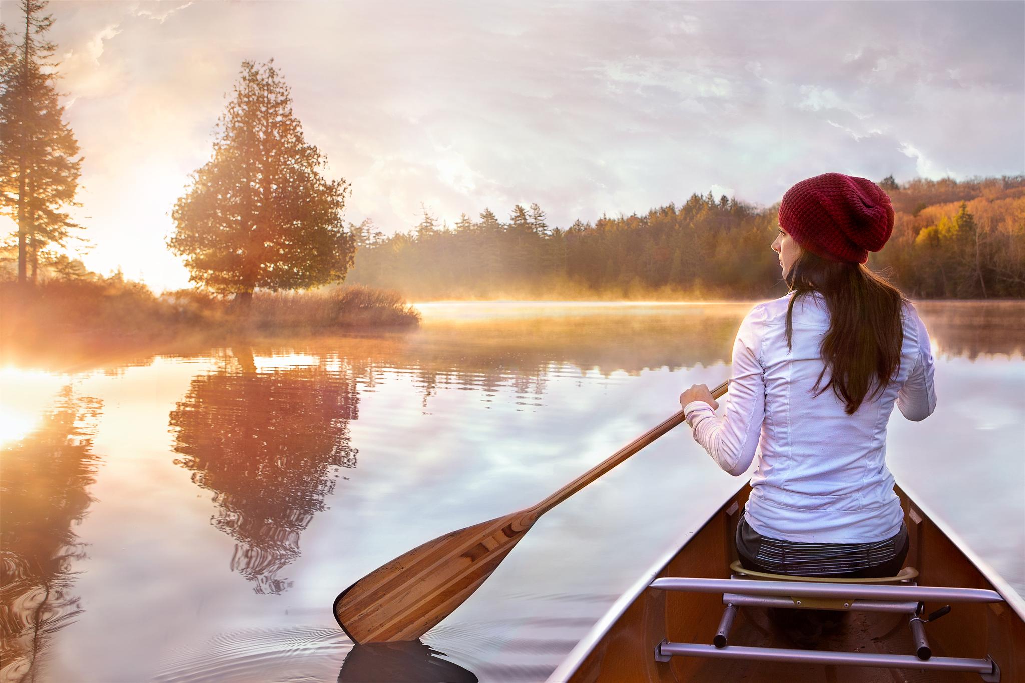 Nicole Paddling at Sunrise on Long Pond