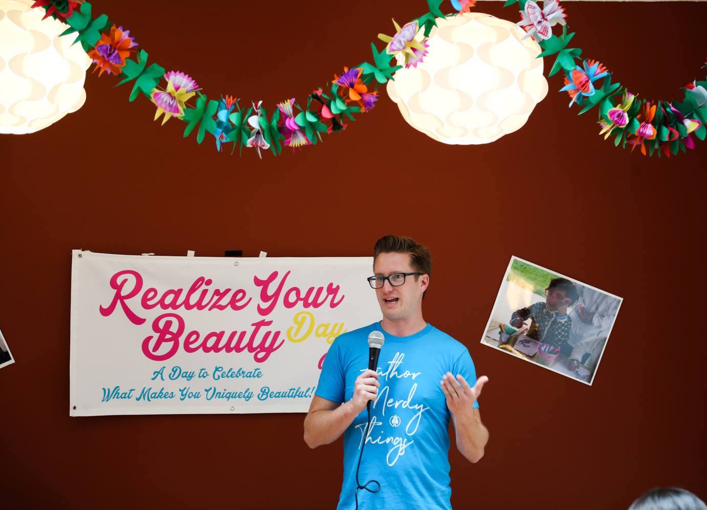 Fowler speaking at the release of  Shatter Your Image  for Realize Your Beauty.