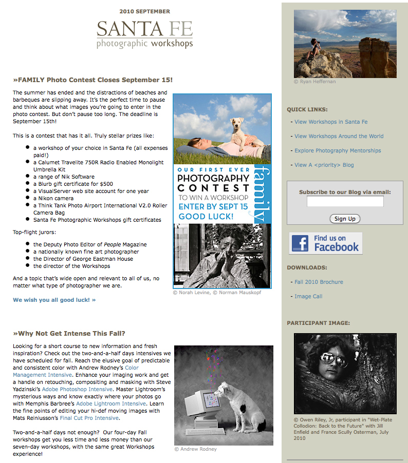 One of my photos on the home page of the Santa Fe Workshops.