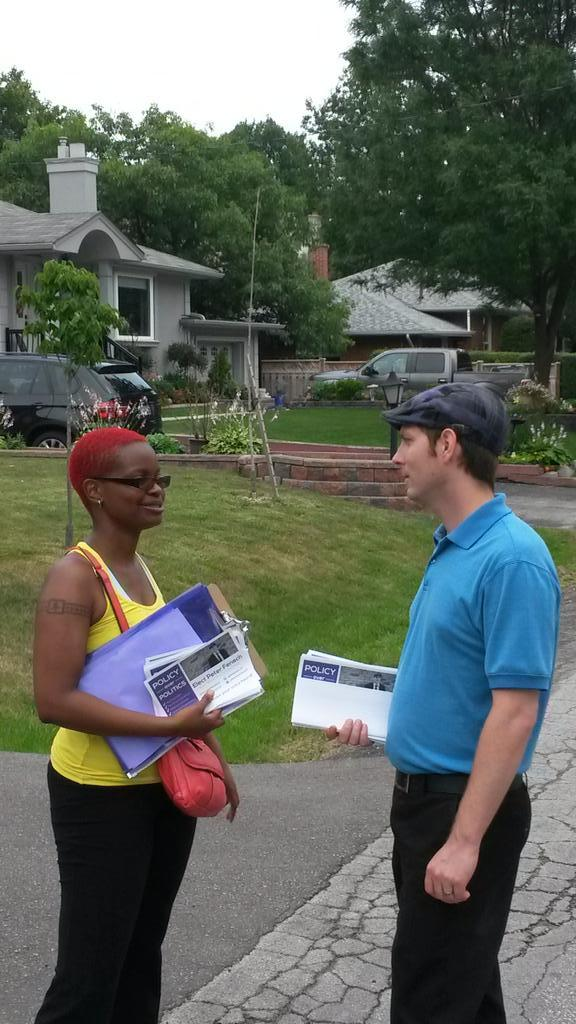 Canvassing in Ward 3 with Nicole.  Taking a moment to discuss some feedback from residents.
