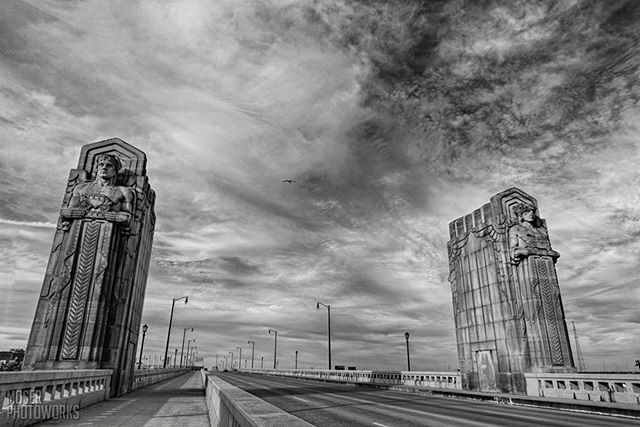 The Guardians of Traffic on the Hope Memorial Bridge are a toughy to shoot. I was bold enough to step out in the middle of the street to photograph them, but light poles stand there, obscuring the faces of the statues. That's no way to comp a shot! Anyway, mind my safety. I stood on the sidewalk and shot into the city.⁣⁣⁣ ⁣⁣⁣⁣⁣~~~~~~~~~~~~~~~~~~~~~~~~~~~~~ **Nikon D750** 24mm @ f/11, ISO 100 ~~~~~~~~~~~~~~~~~~~~~~~~~~~~~⁣ ⁣⁣⁣#cleveland #hopememorialbridge #guardiansoftraffic #ohio #landscapephotography #nikon #d750 #statues #road #theland #clevelandgram #skyline #northeastohiorocks #thisiscle #216 #photography #clevelandohio