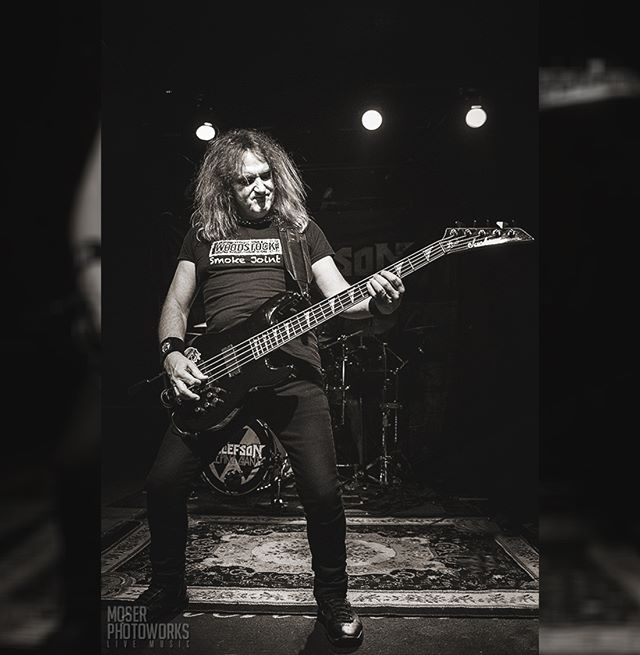 "The legend himself, Mr. David Ellefson of Megadeth solo touring with the Sleeping Giants last night at the Winchester. Congrats on the release of ""More Life With Deth,"" the number 1 release on Amazon. ✊💀👊"