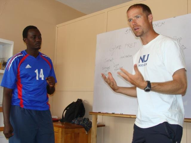 Seth teaching soccer coaches in Kigali, Rwanda with The Kefa Project