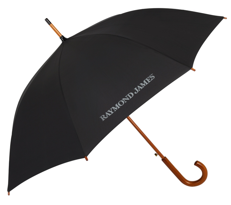 EXECUTIVE UMBRELLAS  | sample shown above: Traditional Executive Umbrella (item #4479) logo-printed with RAYMOND JAMES logo