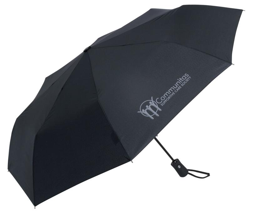 FOLDING UMBRELLAS |sample shown above:Traveller Folding Umbrella (item #9555) logo-printed with COMMUNITAS logo