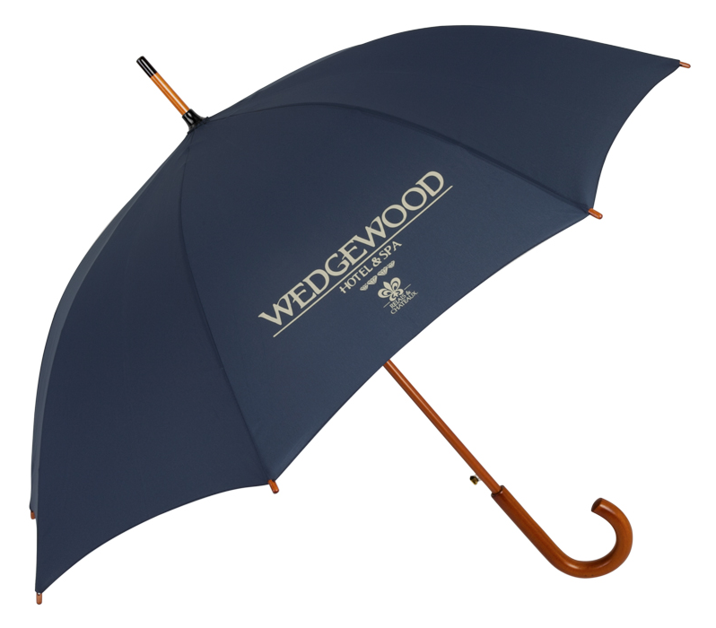 HOTEL GUEST UMBRELLAS |sample shown above:Traditional Executive Guest Umbrella (item #4479) logo-printed with WEDGEWOOD HOTEL & SPA - RELAIS & CHATEAUX logo
