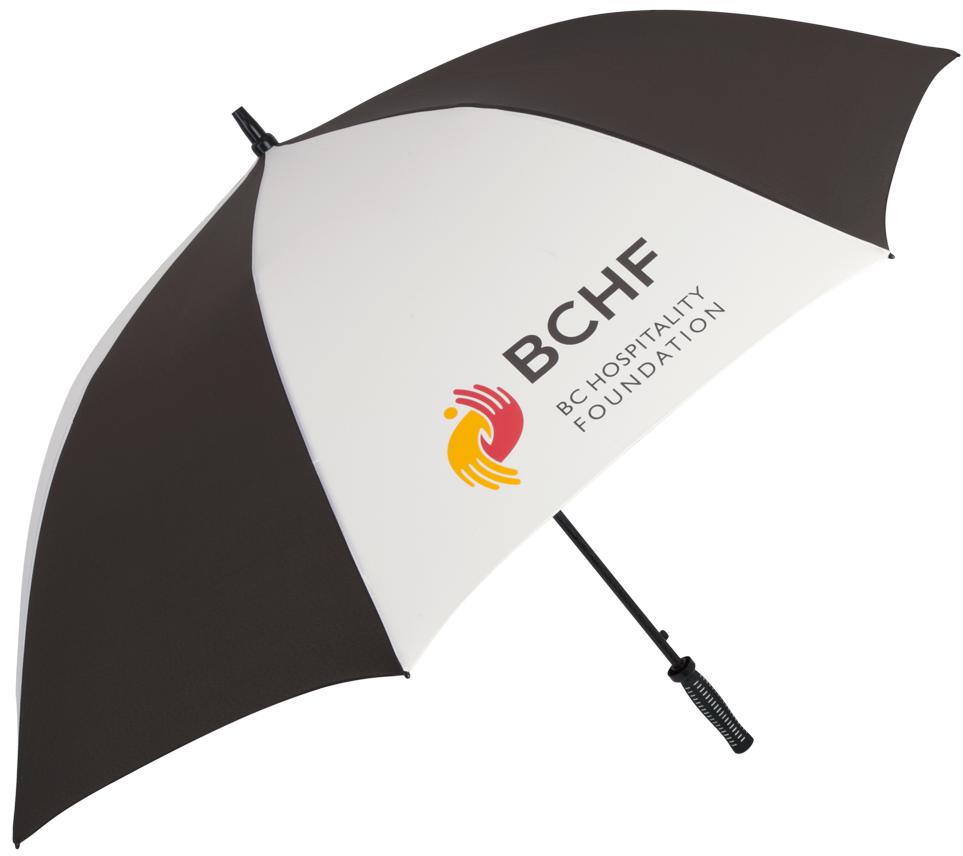 CONCIERGE GOLF UMBRELLAS |sample shown above:Concierge Golf Umbrella (item #2088) logo-printed with BC HOSPITALITY FOUNDATION logo