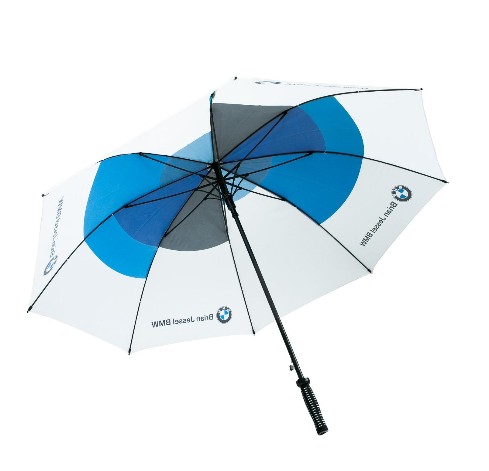 CUSTOM DESIGN UMBRELLAS | sample shown above: Concierge Golf Umbrella ( item #2088 )  sample logo-printed with Brian Jessel BMW  logo & 'all-over-printed' custom design graphic