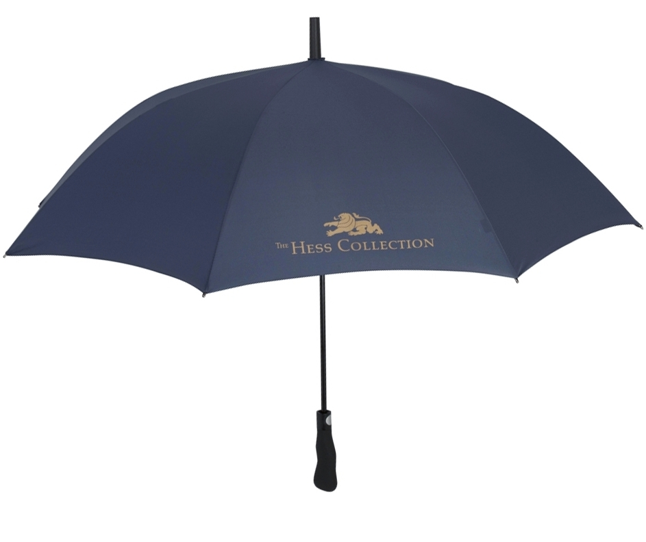 EXECUTIVE UMBRELLAS | sample shown above: Modern Executive Umbrella ( item #4477 ) sample logo-printed with THE HESS COLLECTION logo