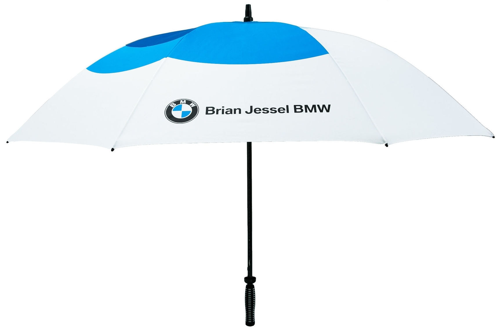 CONCIERGE/GOLF UMBRELLA (Item #2088) sample offshore production custom design Umbrella printed with Brian Jessel BMW logo & all-over-printed custom design graphic