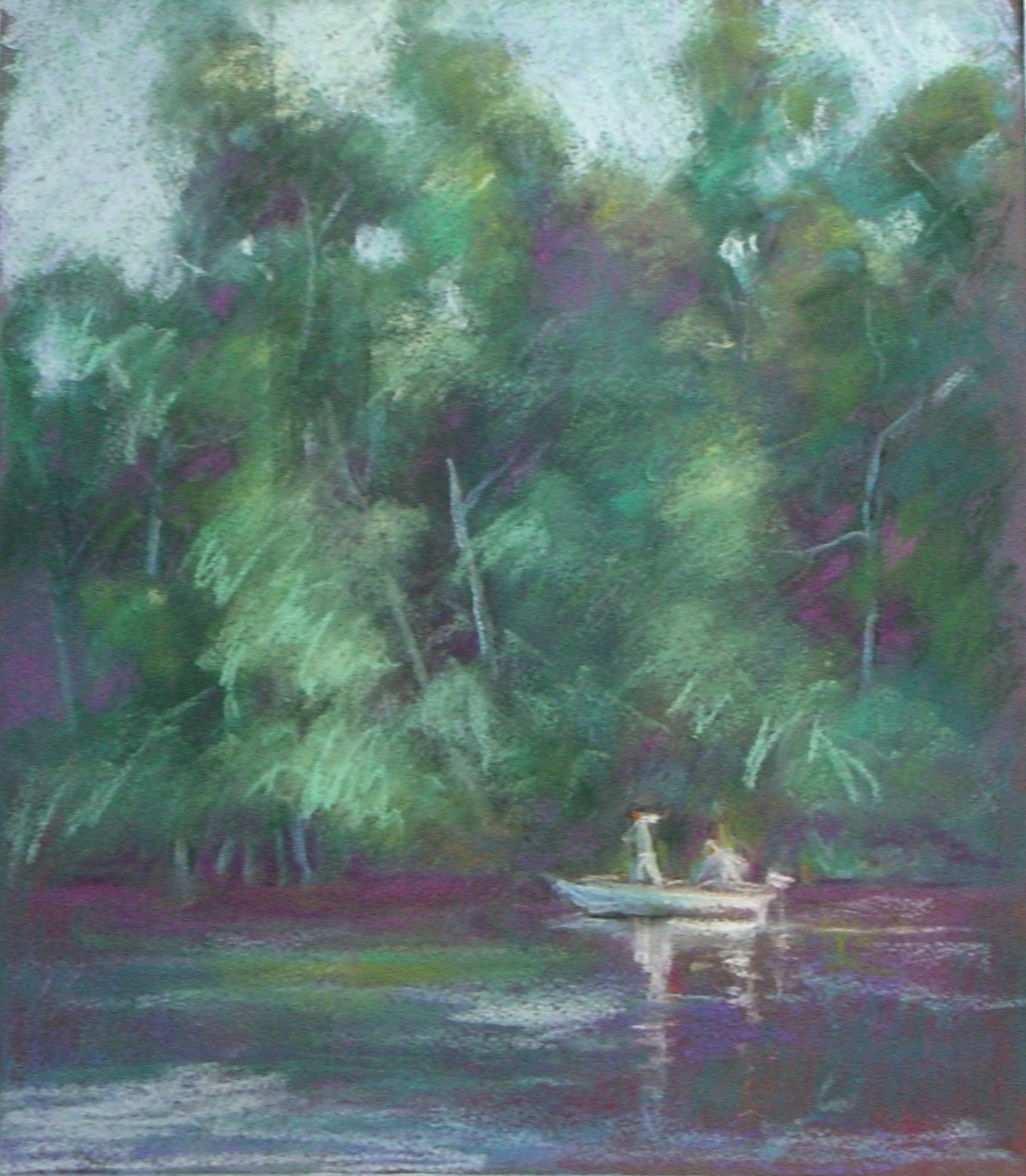 """Crabbing on the Wye River  13"""" X 12""""  Pastel"""