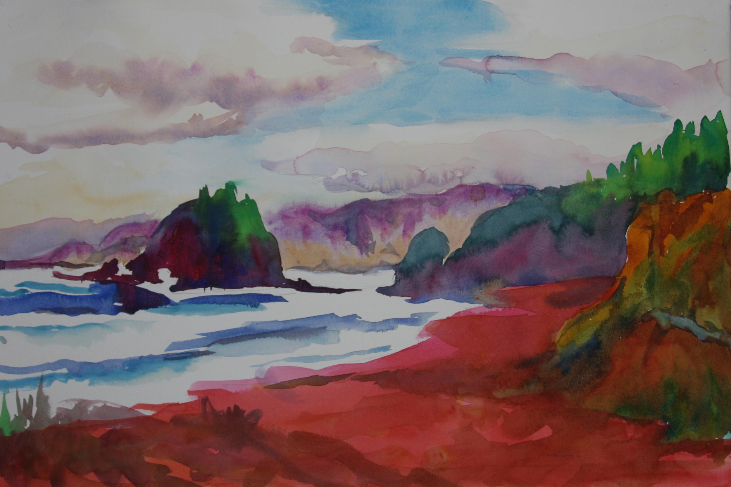 """Trinidad California  15"""" X 22""""  Watercolor"""
