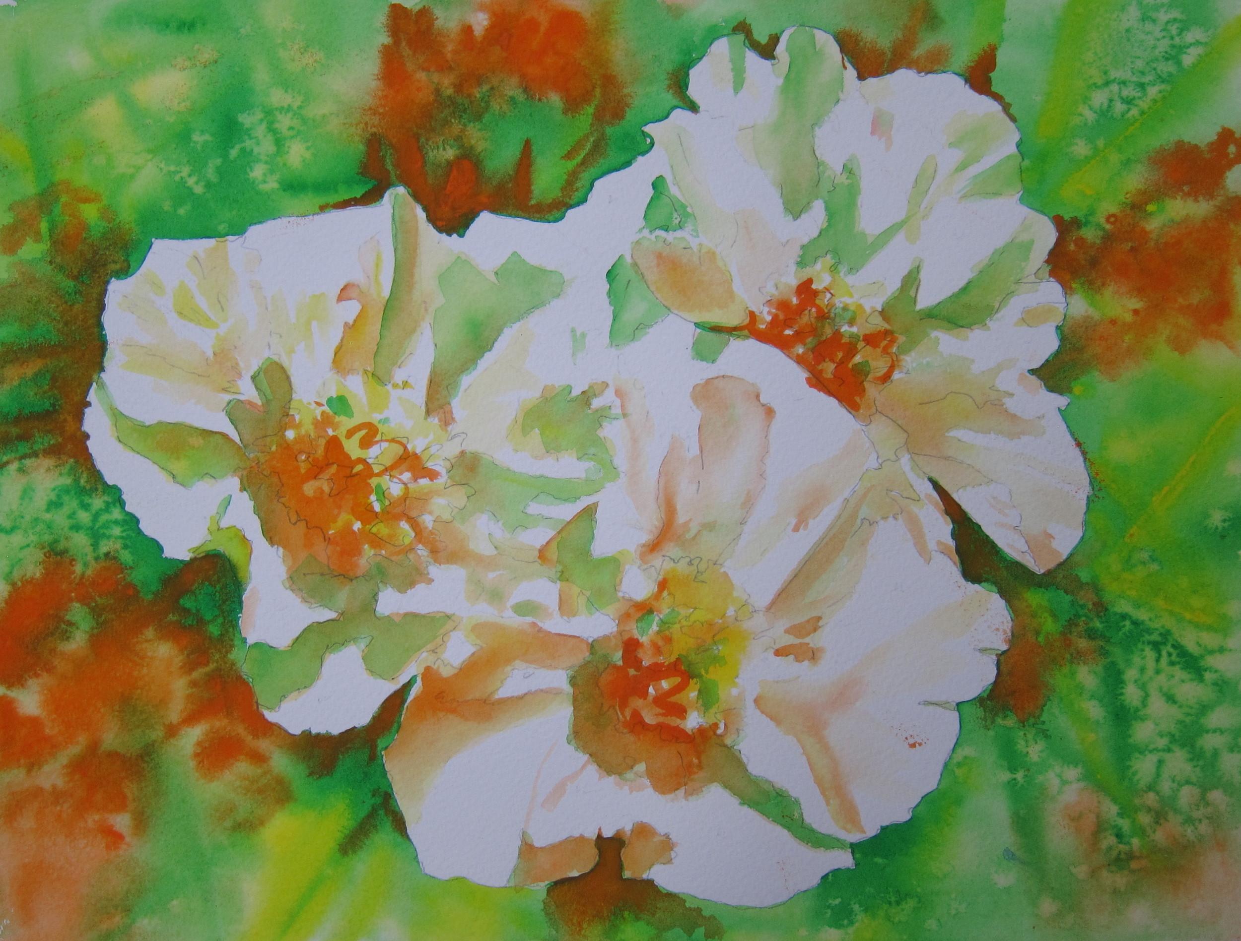 "Peonies for the Irish  11"" X 15""  Watercolor"