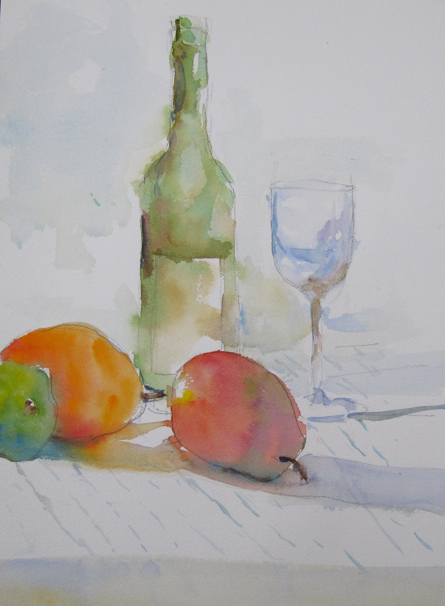 """Wine and No Cheese  10"""" X 14""""  Watercolor"""