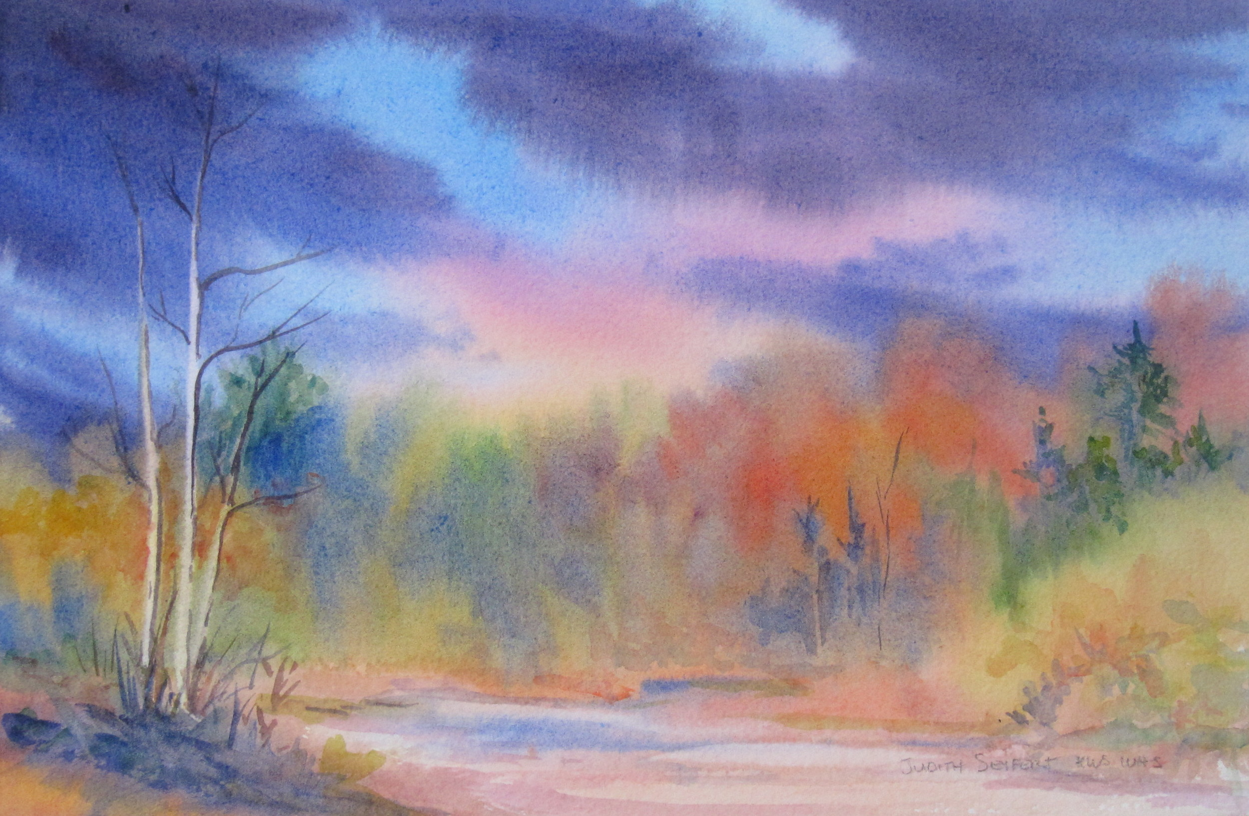 """Fall on the Black River  7.5"""" X 11""""  Watercolor"""