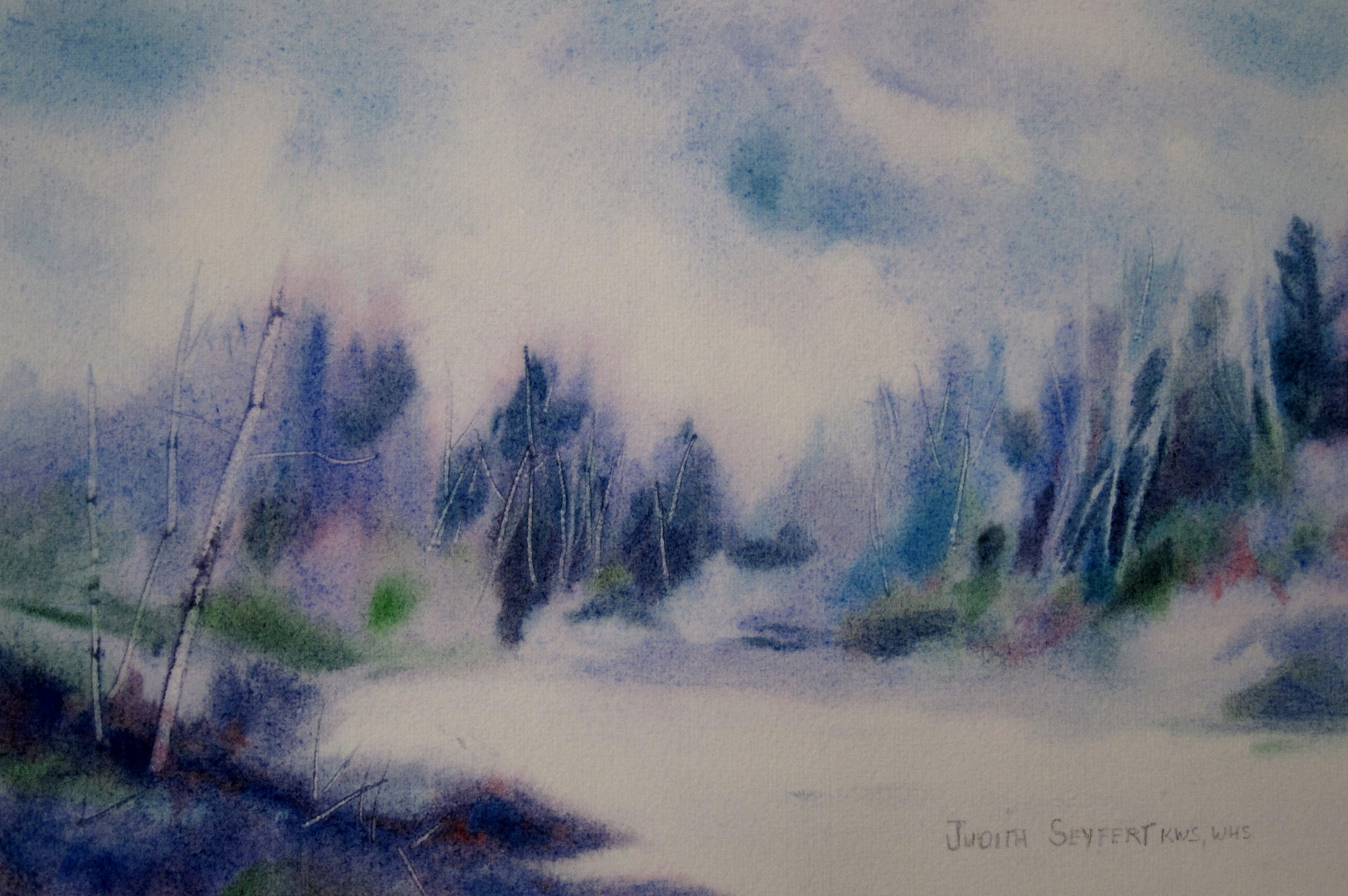 """Winter on the River  11"""" X 15""""  Watercolor"""