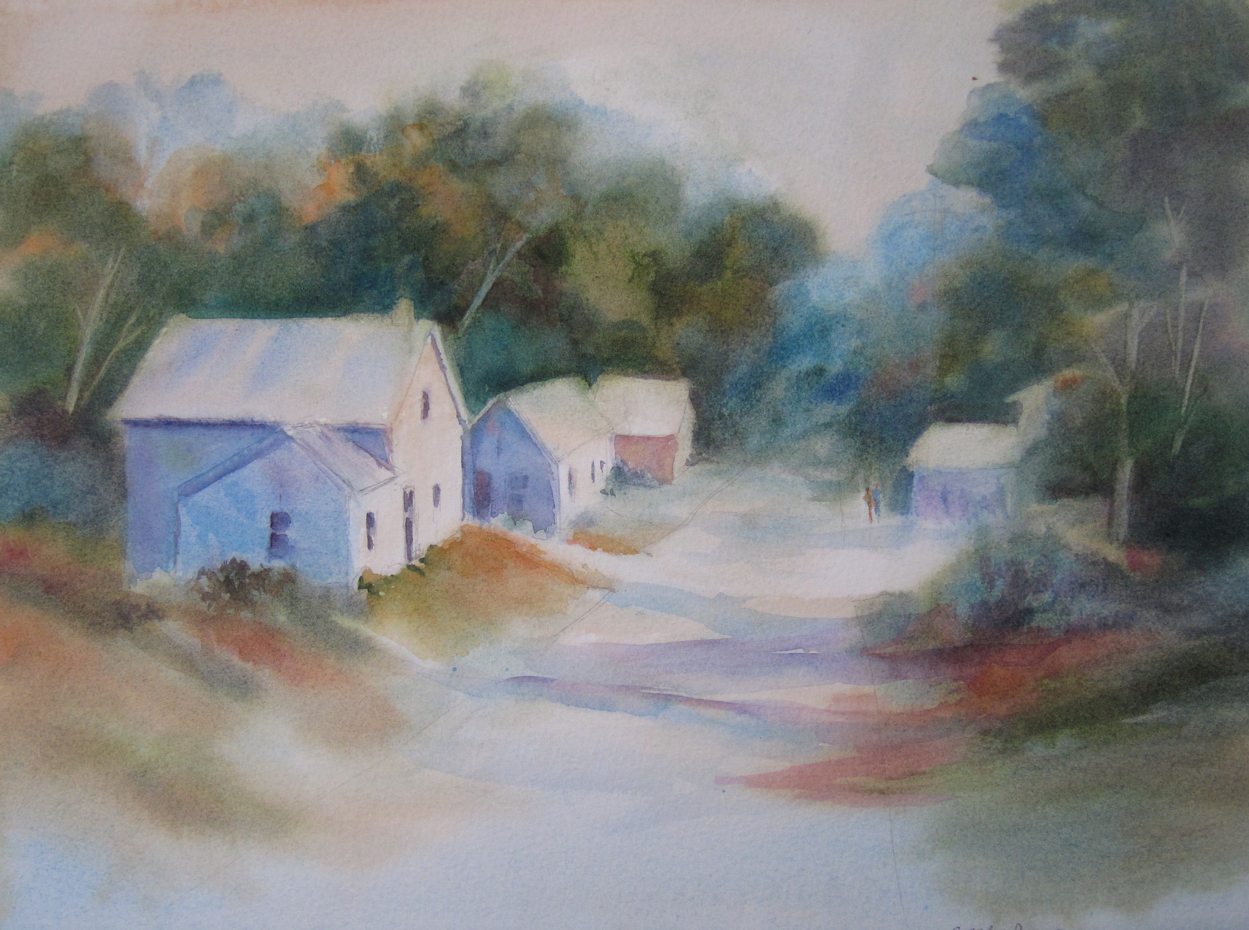 """Somewhere in Lincoln County  11"""" X 15""""  Watercolor"""