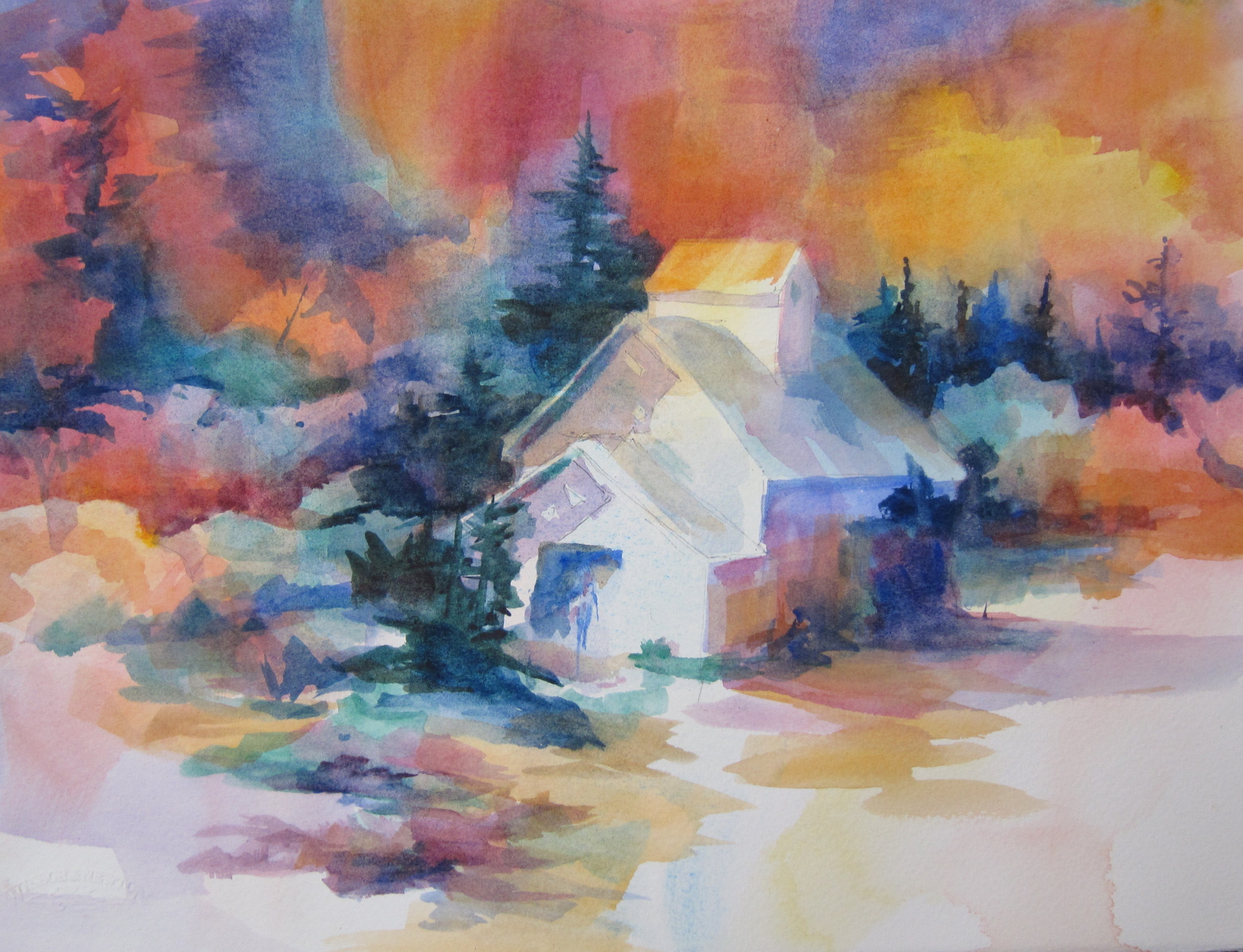 """Another Barn  11"""" X 15""""  Watercolor"""