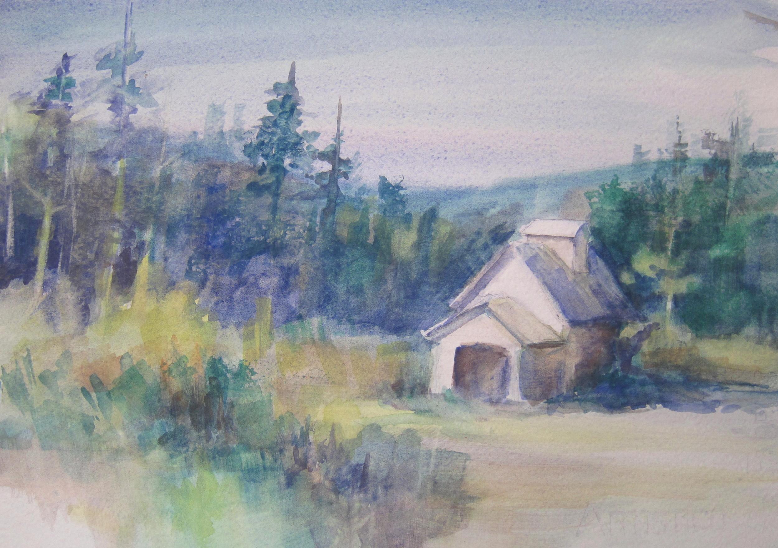 "Same Barn, Same Place  11"" X 15  Watercolor"