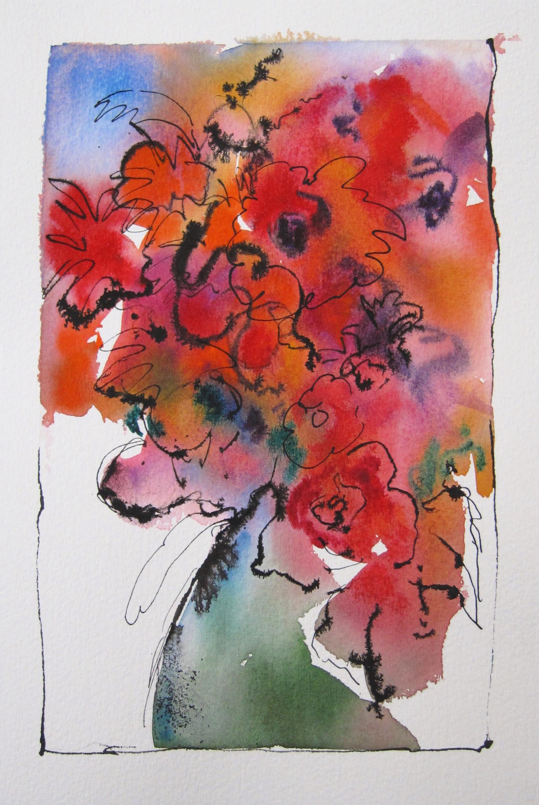 "Winter Flowers  10"" X 7""  Watercolor & Ink"