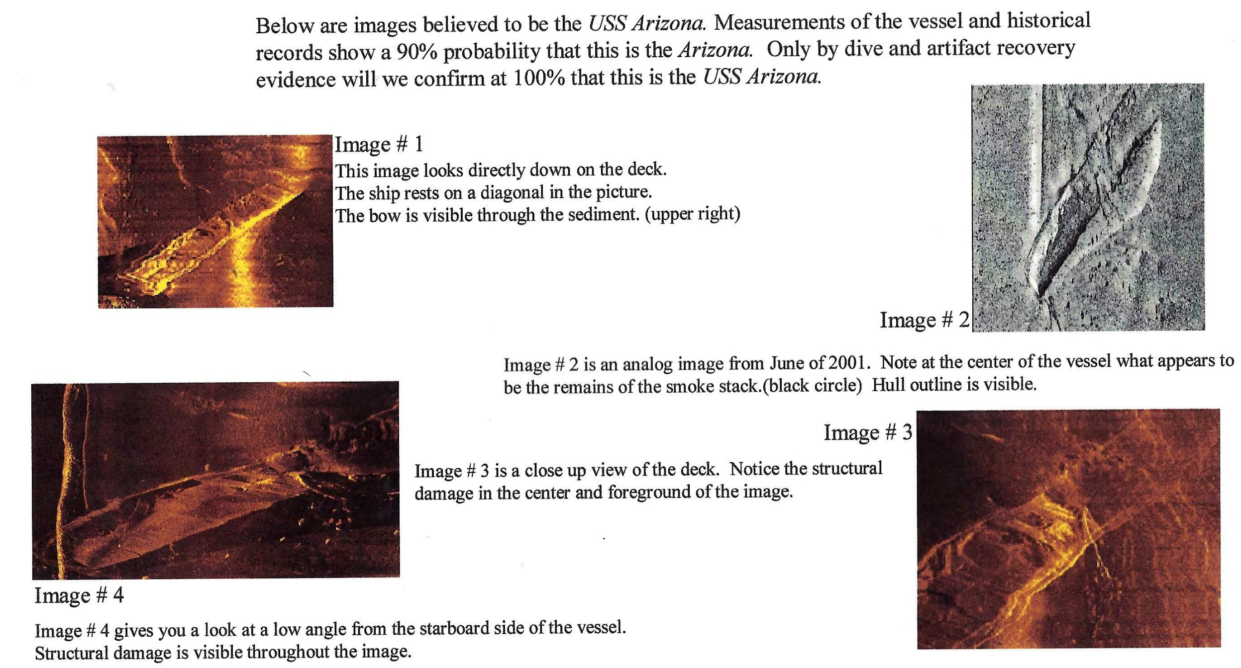 Images from possible wreck site of USS Arizona taken June 28, 2001