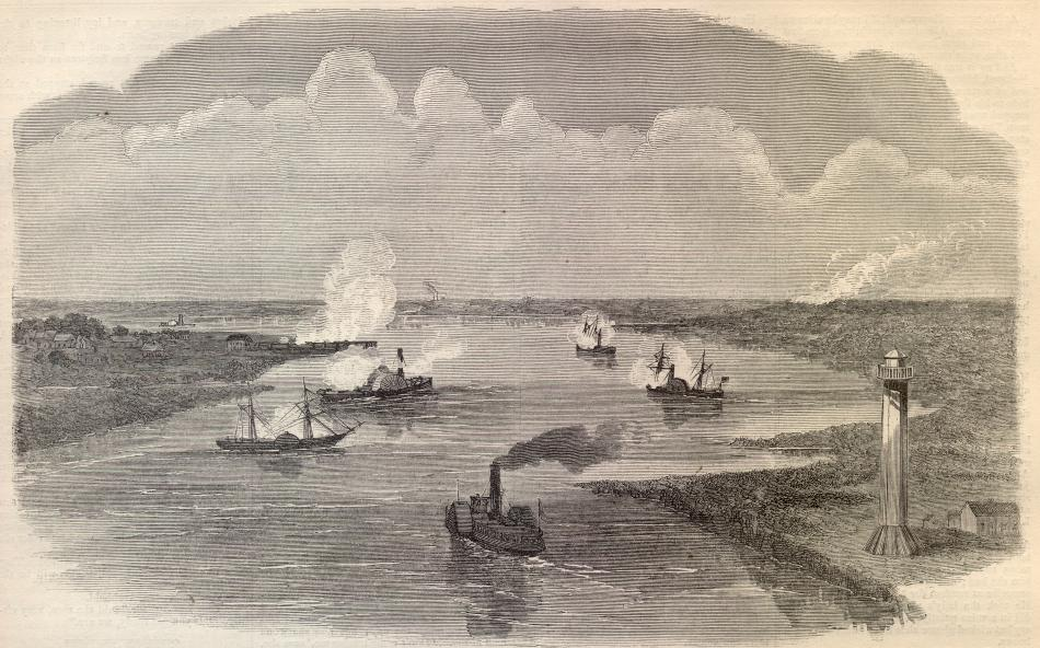 The Attack on Sabine Pass: September 8, 1863-Sketched by an eyewitness(  Arizona  can be seen on the far right)     Photo courtesy of the  Son of the South ; originally published in Harper's Weekly