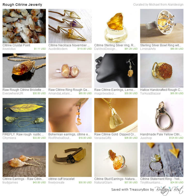 Rough Citrine Jewerly